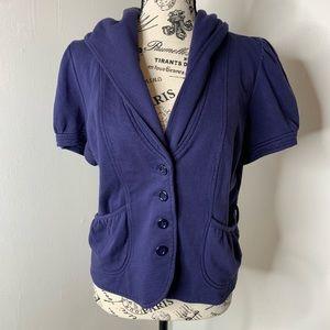 ALLIHOP | Anthro Purple Crop Hood Puff Sleeve B01
